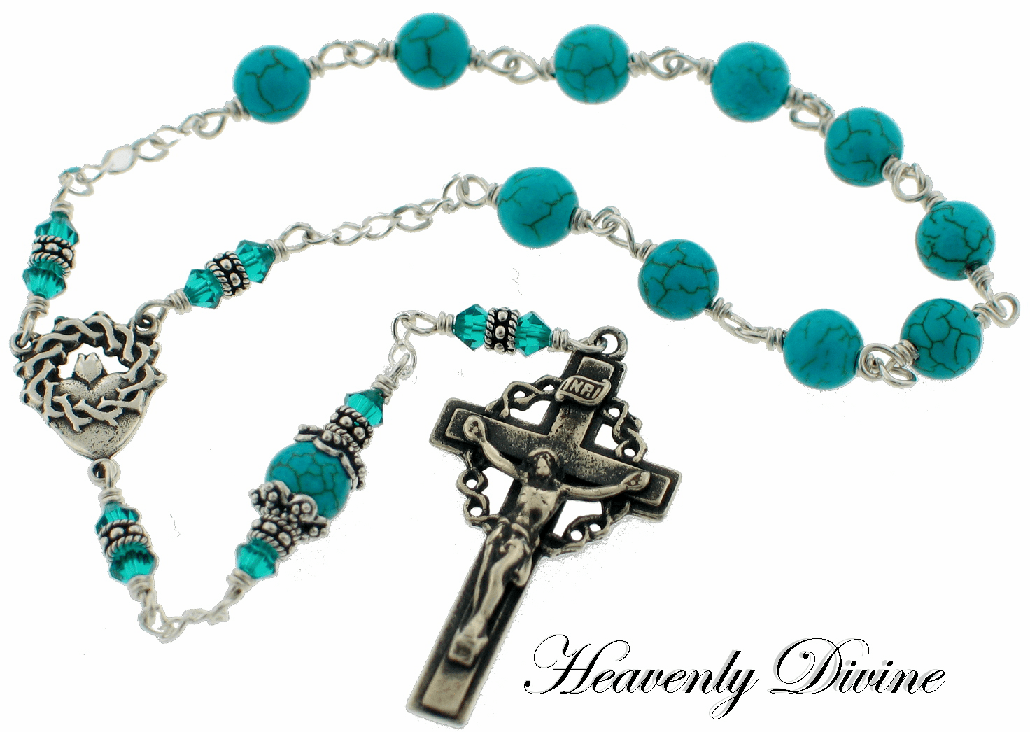 Turquoise Crown of Thorns Pocket Sterling Silver Pocket Rosary by Heavenly Divine