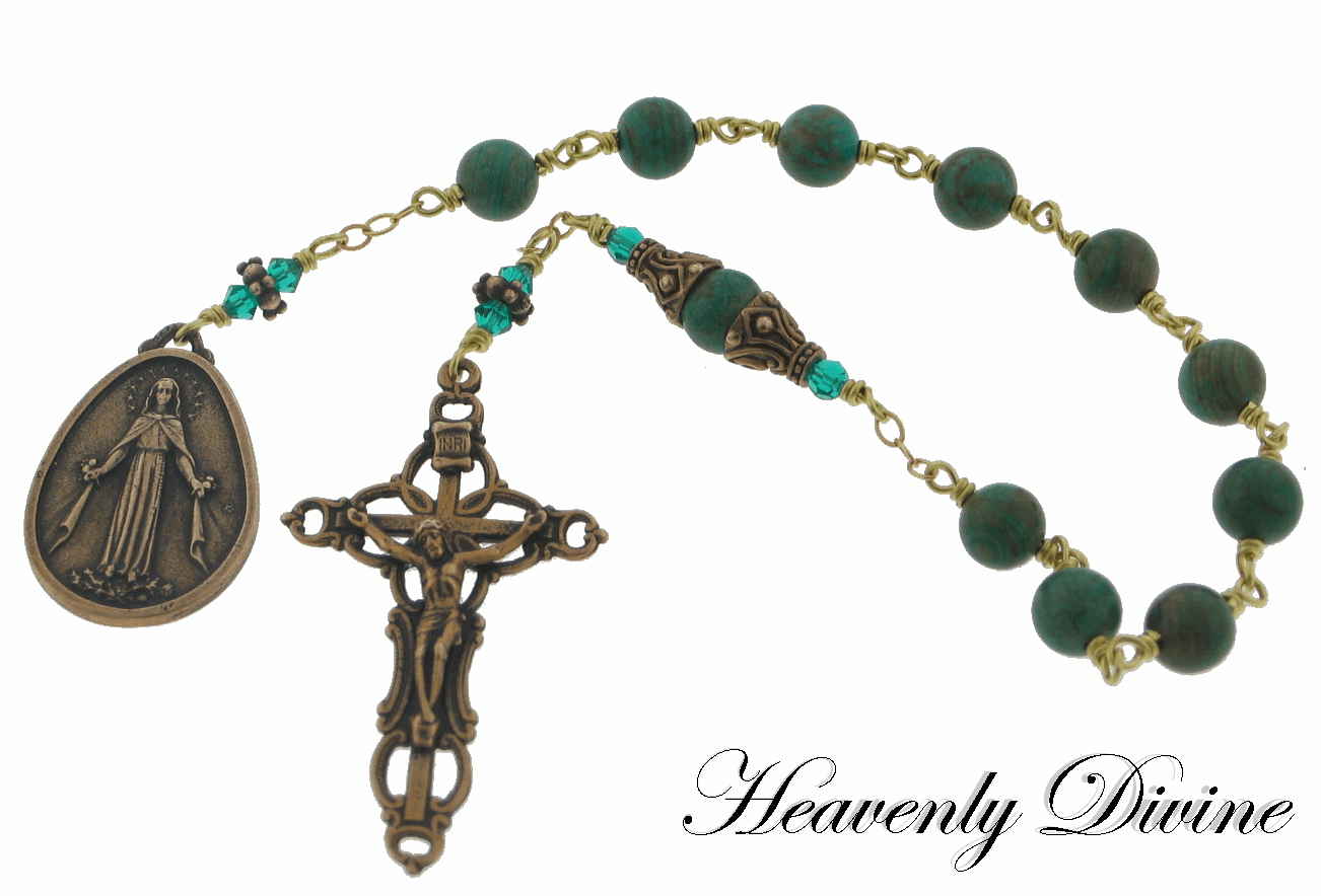 Twin Heart Blue Sky Jasper Bronze One Decade Rosary by Heavenly Divine
