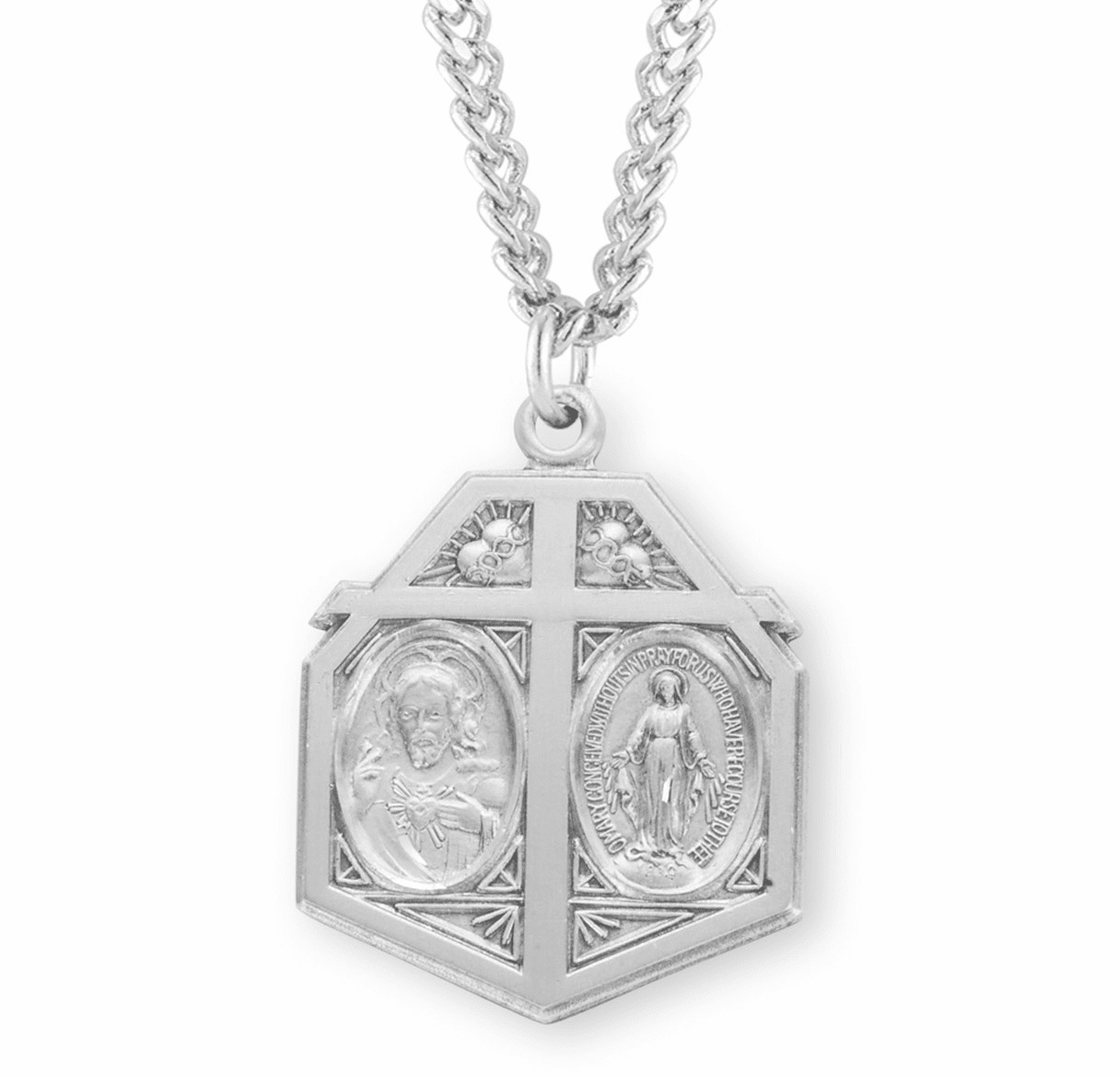 Twin Heart Scapular Medal Sterling Silver Cross Medal Necklace by HMH Religious