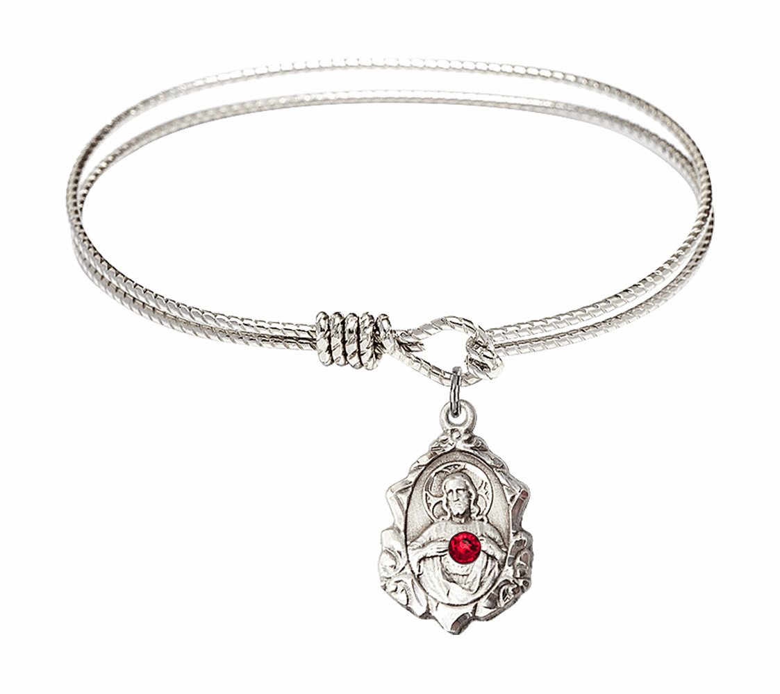 Twist Eye Hook Bangle Bracelet with a Ruby Scapular Charm by Bliss Mfg