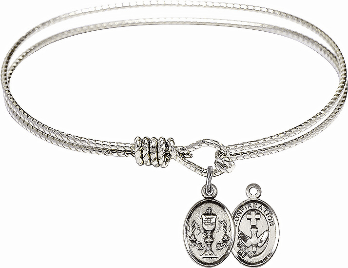 Twist Round Eye Hook Chalice Confirmation Bangle Charm Bracelet by Bliss Mfg