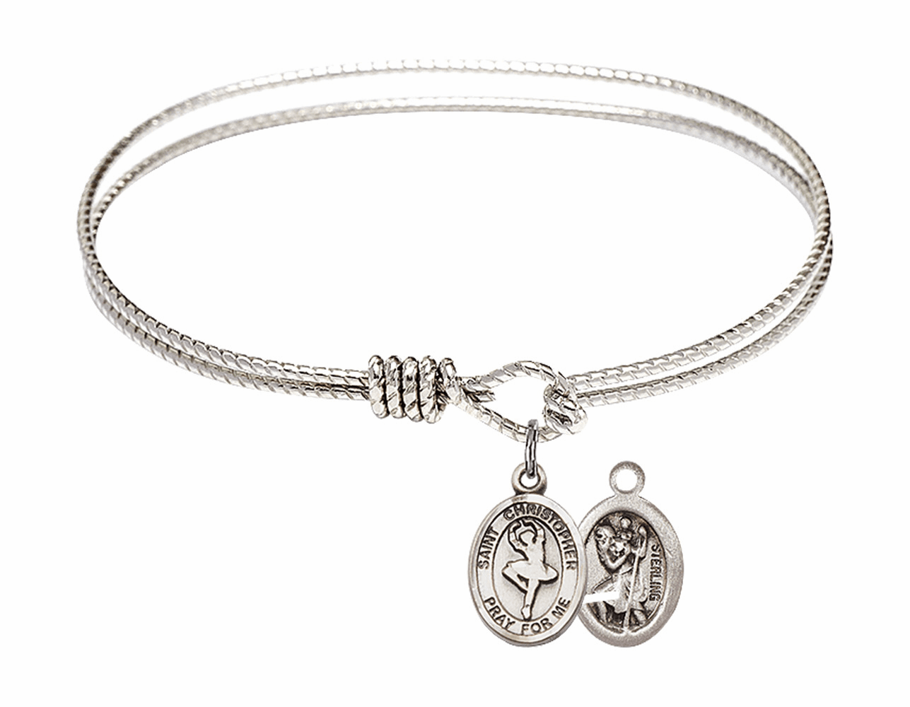 Twist Round Eye Hook St Christopher Dance Bangle Charm Bracelet by Bliss