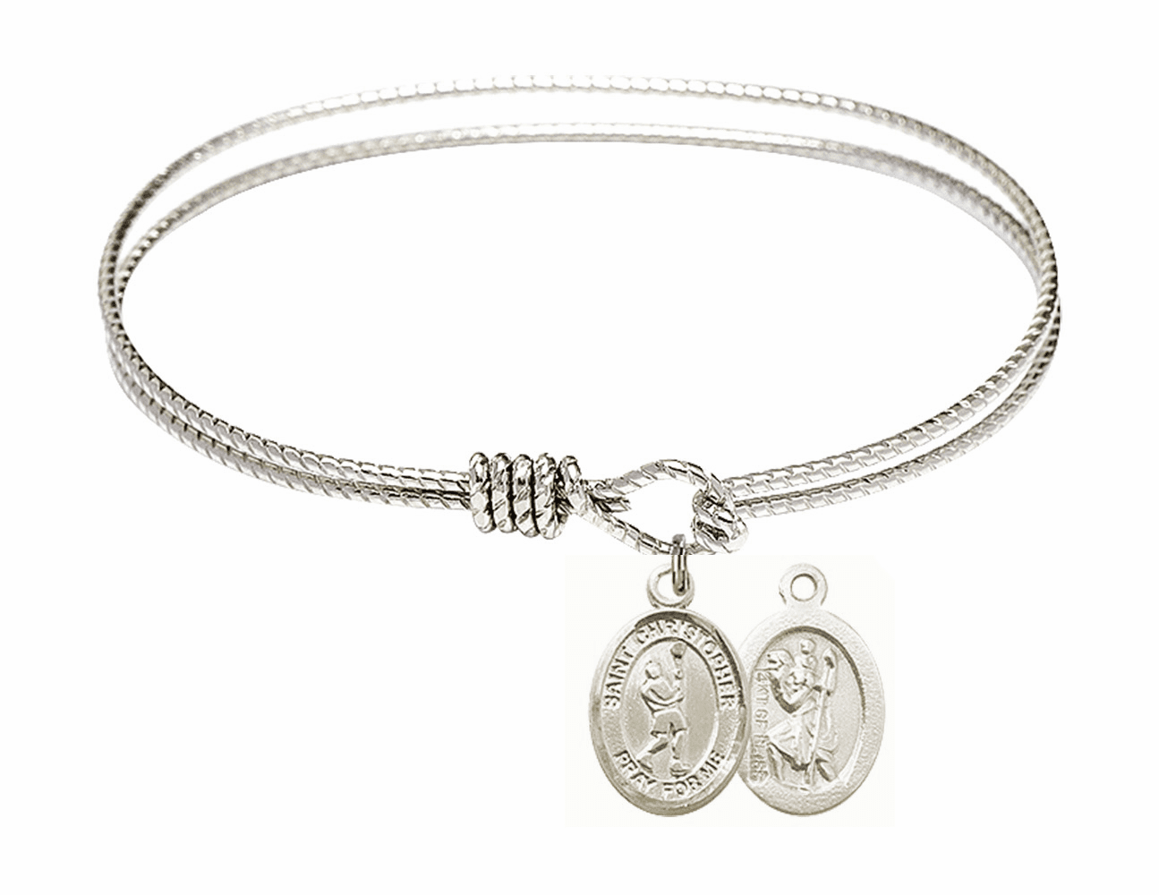 Twist Round Eye Hook St Christopher Lacrosse Bangle Charm Bracelet by Bliss