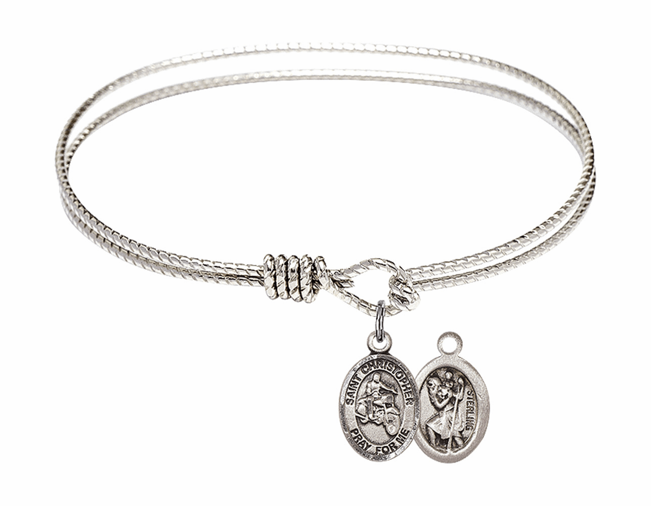 Twist Round Eye Hook St Christopher Motorcycle Riding Bangle Charm Bracelet by Bliss