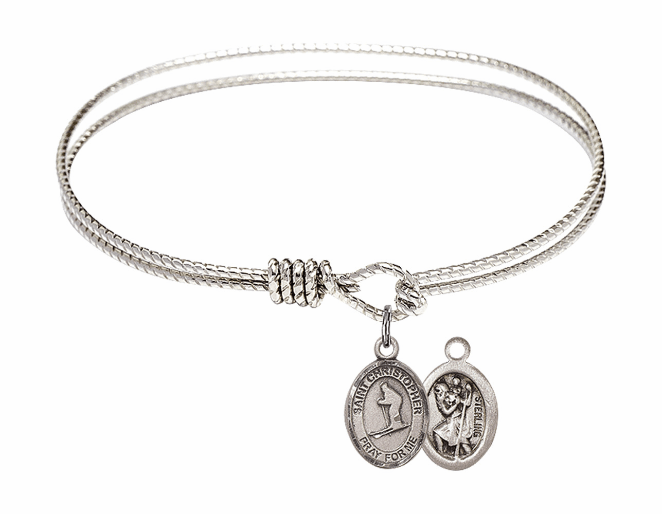 Twist Round Eye Hook St Christopher Skiing Bangle Charm Bracelet by Bliss