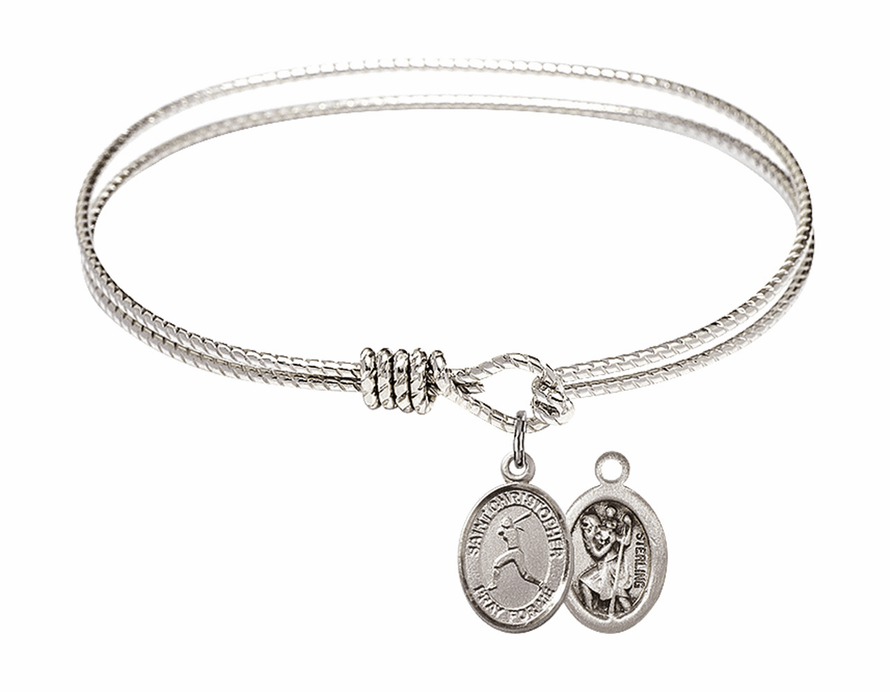 Twist Round Eye Hook St Christopher Softball Bangle Charm Bracelet by Bliss