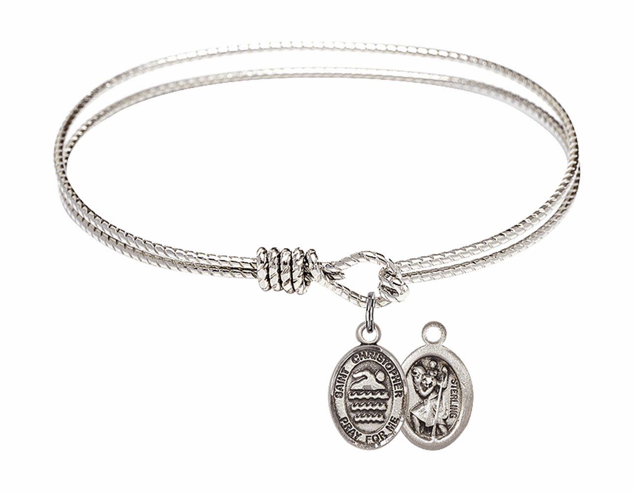 Twist Round Eye Hook St Christopher Swimming Bangle Charm Bracelet by Bliss