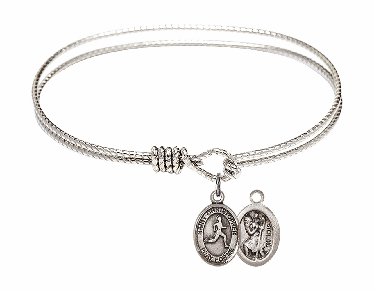Twist Round Eye Hook St Christopher Track and Field Bangle Charm Bracelet by Bliss
