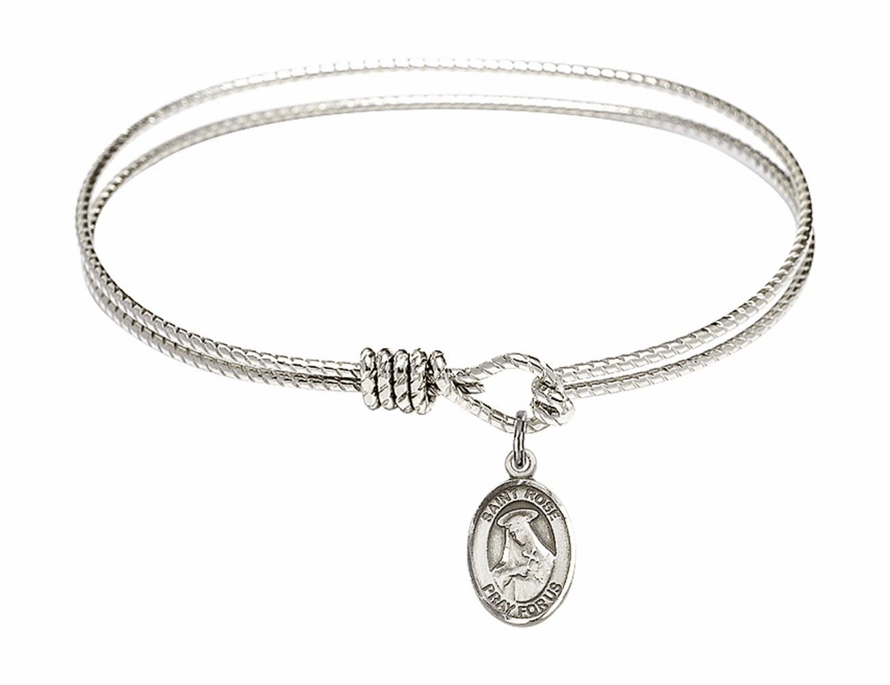 Twist Round Eye Hook St Rose of Lima Bangle Charm Bracelet by Bliss Mfg