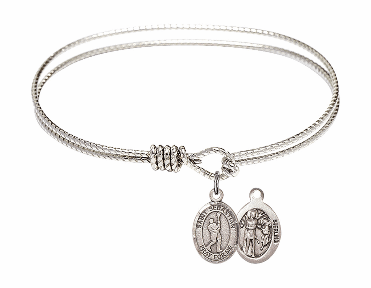 Twist Round Eye Hook St Sebastian Lacrosse Bangle Charm Bracelet by Bliss