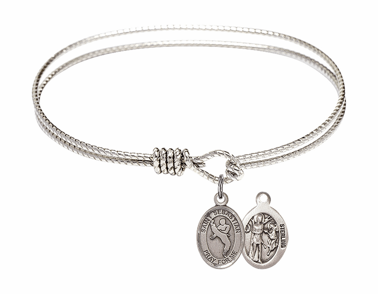 Twist Round Eye Hook St Sebastian Martial Arts Bangle Charm Bracelet by Bliss