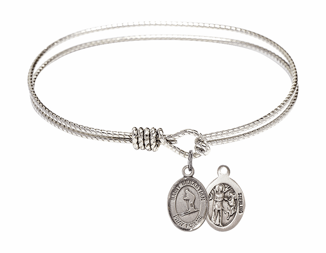 Twist Round Eye Hook St Sebastian Skiing Bangle Charm Bracelet by Bliss