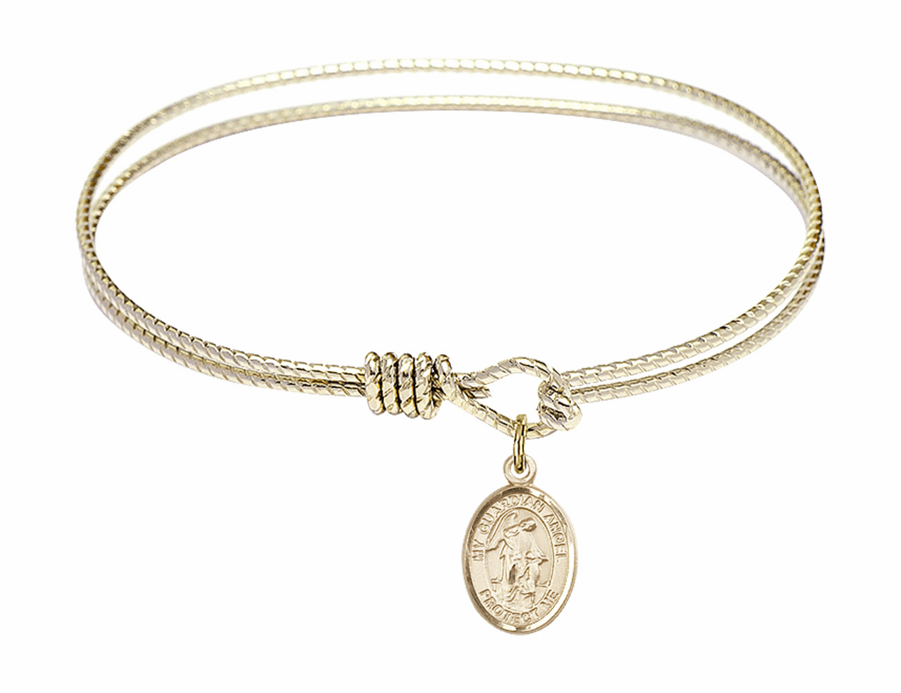 Twisted Guardian Angel Bangle 14kt Gold-filled Charm Bracelet by Bliss