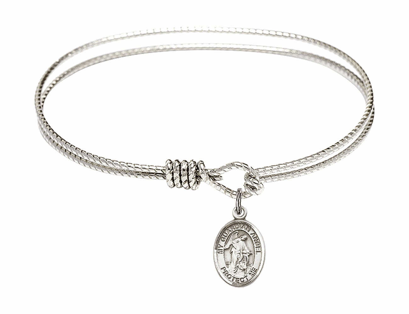Twisted Guardian Angel Bangle Sterling Silver Charm Bracelet by Bliss