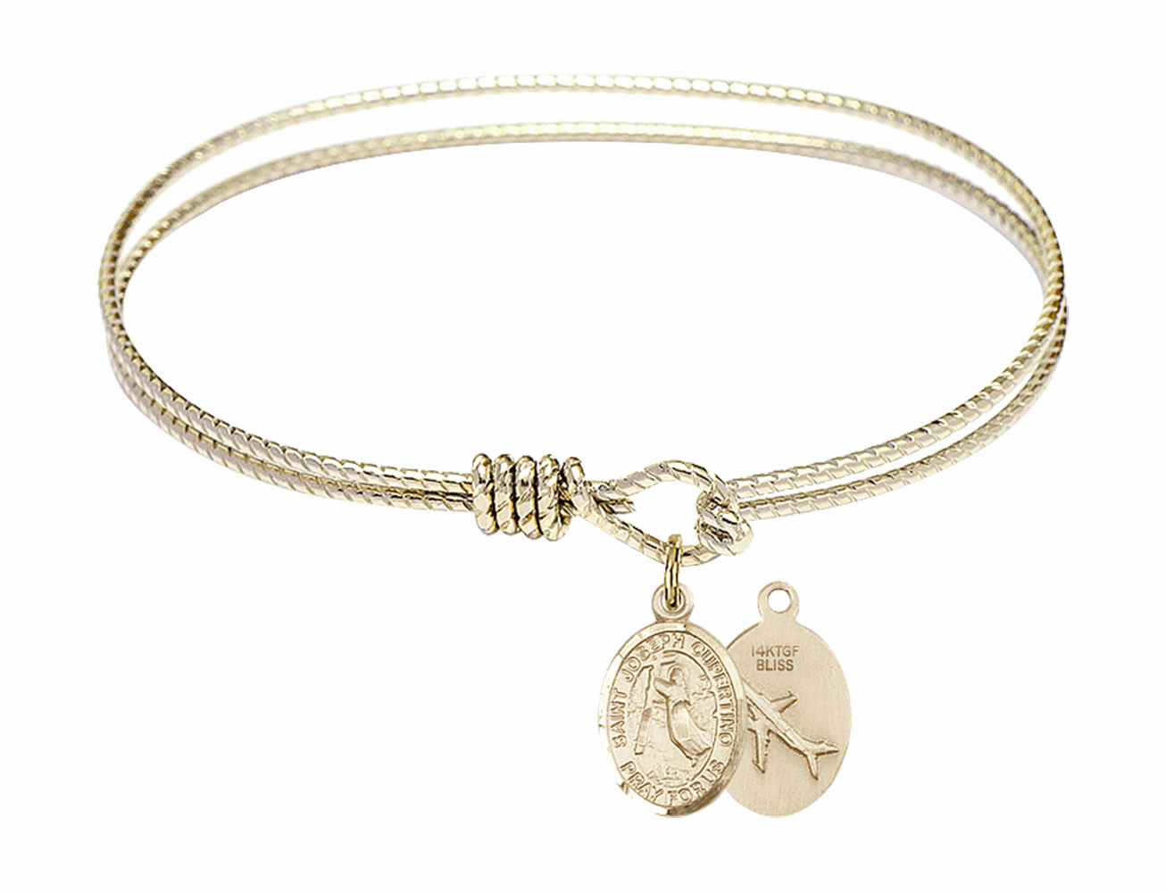 Twisted Joseph of Cupertino Airplane Bangle 14kt Gold-filled Charm Bracelet by Bliss
