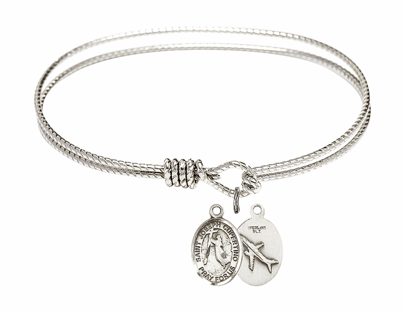 Twisted Joseph of Cupertino Airplane Bangle Sterling Silver Charm Bracelet by Bliss