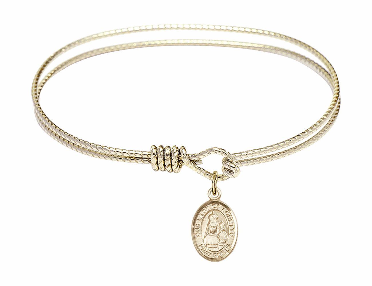 Twisted Our Lady of Loretto Bangle Gold-filled Charm Bracelet