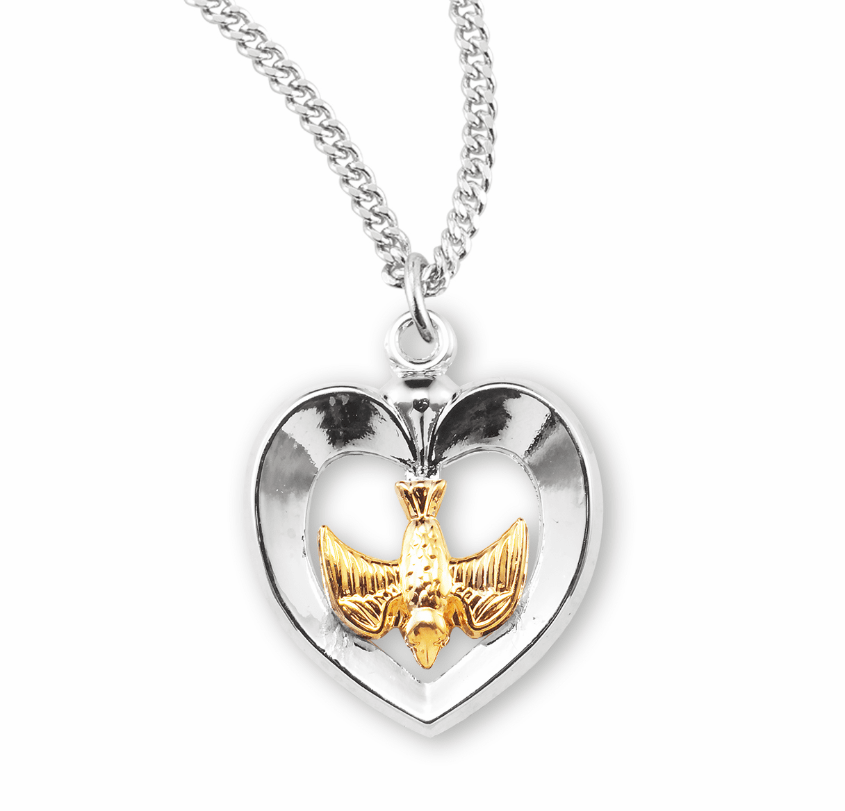 Two-Toned Holy Spirit Inlayed Heart Necklace by HMH Religious