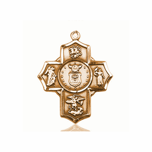 US Air Force 5-Way Military 14Kt Gold Cross Medal Pendant by Bliss