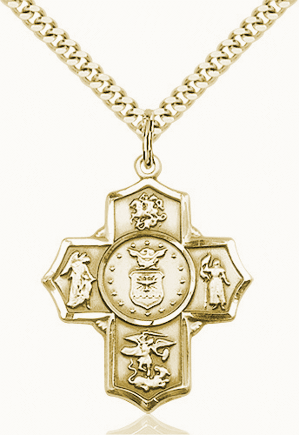 US Air Force 5-Way Military Gold-Filled Cross Medal Necklace by Bliss