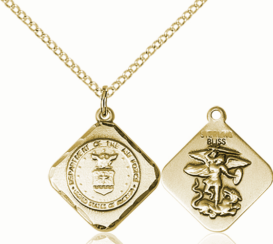 US Air Force Diamond Shaped 14kt Gold-filled St Michael Necklace By Bliss