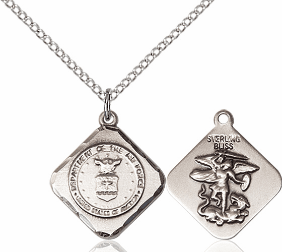 US Air Force Diamond Shaped Sterling Silver St Michael Necklace By Bliss