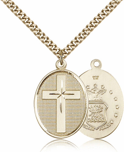 US Air Force Gold Filled Military Christian Cross Necklace by Bliss Mfg