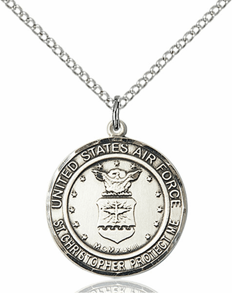 US Air Force Military St Christopher Sterling Silver Medal Engravable Necklace by Bliss