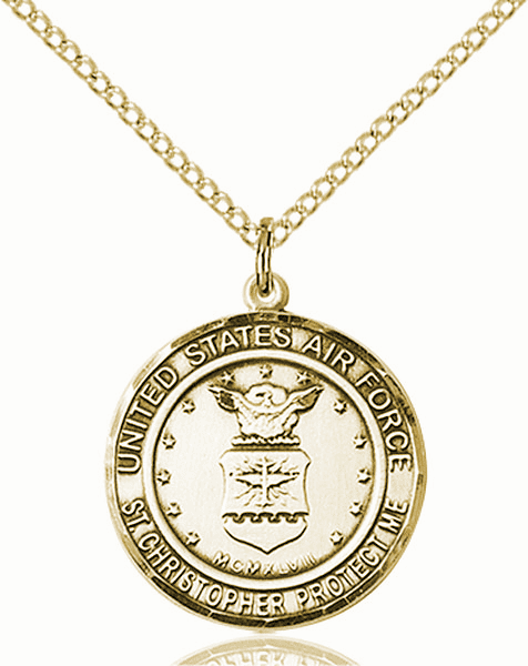 US Air Force Patron Saint Christopher 14kt Gold-filled Engravable Medal Necklace by Bliss