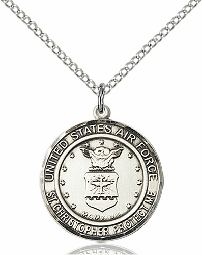 US Air Force Patron Saint Christopher Pewter Engravable Medal Necklace by Bliss