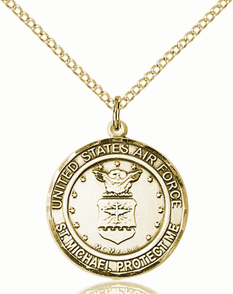 US Air Force Patron Saint Michael 14kt Gold-filled Engravable Medal Necklace by Bliss