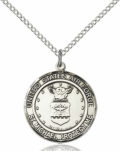 US Air Force Patron Saint Michael Pewter Engravable Medal Necklace by Bliss