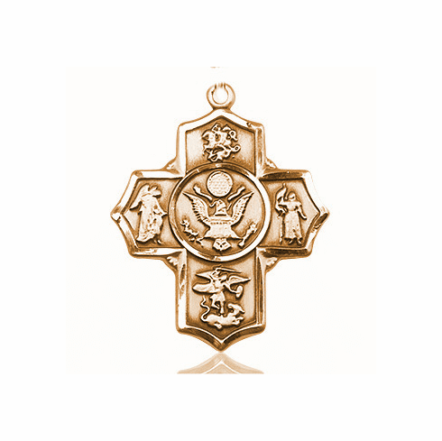 US Army 5-Way Military 14Kt Gold  Cross Medal Pendant by Bliss