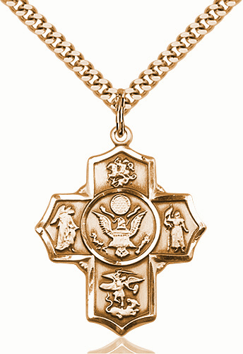 US Army 5-Way Military Gold-Filled Cross Medal Necklace by Bliss