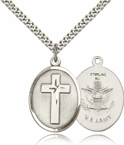 US Army Christian Military Pewter Medal Necklace by Bliss