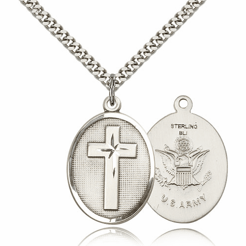 US Army Christian Military Sterling Silver Medal Necklace by Bliss