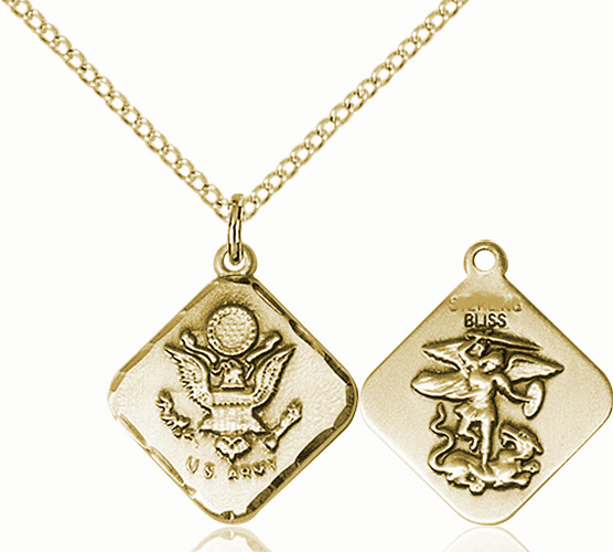US Army Diamond Shaped 14kt Gold-filled St Michael Necklace By Bliss