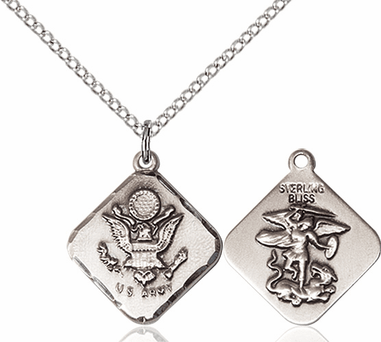 US Army Diamond Shaped Sterling Silver St Michael Necklace By Bliss