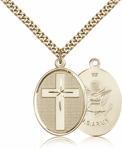 US Army Military Christian Cross Gold-filled Necklace by Bliss Mfg