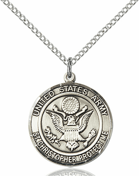 US Army Military St Christopher Sterling Silver Engravable Medal Necklace by Bliss