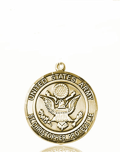 US Army Patron Saint Christopher 14kt Gold Engravable Medal Pendant by Bliss