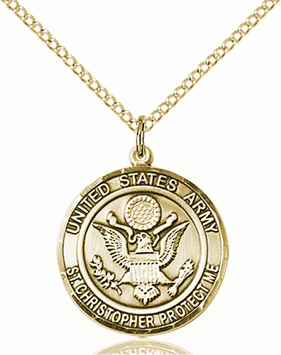US Army Patron Saint Christopher 14kt Gold-filled Engravable Medal Necklace by Bliss