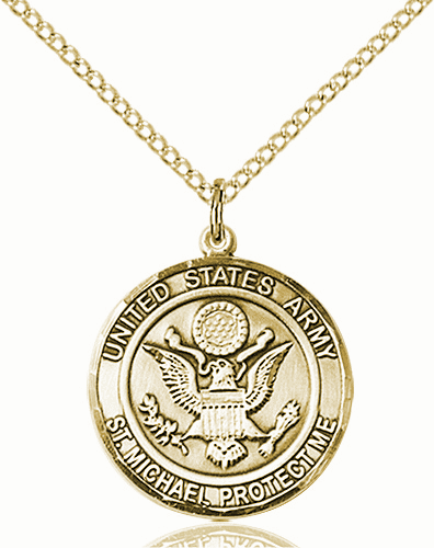 US Army Patron Saint Michael 14kt Gold-filled Engravable Medal Necklace by Bliss