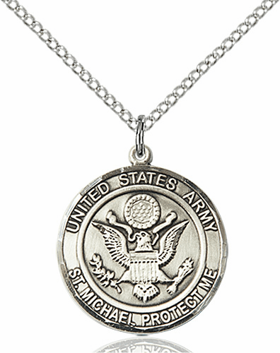 US Army Patron Saint Michael Sterling Engravable Medal Necklace by Bliss