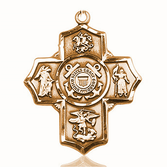 US Coast Guard 5-Way Military 14Kt Gold  Cross Medal Pendant by Bliss