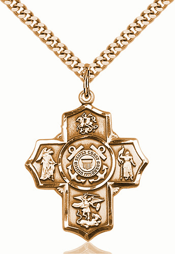 US Coast Guard 5-Way Military Gold-Filled Cross Medal Necklace by Bliss