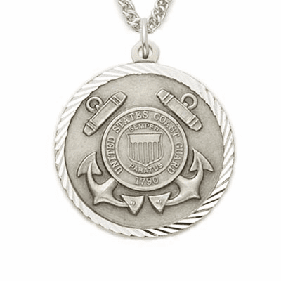 US Coast Guard Mens Sterling Medal w/Christian Cross Necklace by Singer