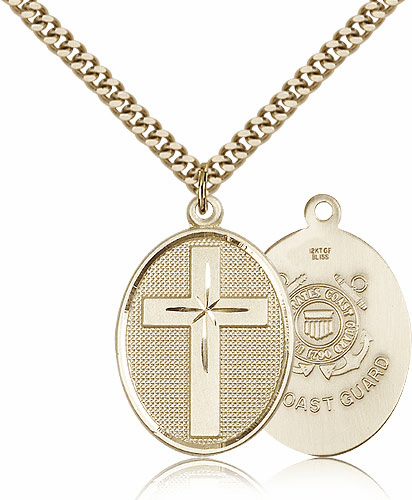 US Coast Guard Military Christian Cross Necklace by Bliss Mfg