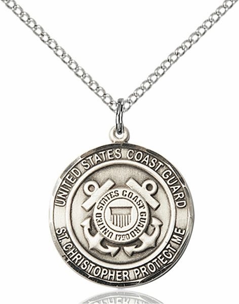 US Coast Guard Military St Christopher Sterling Silver Engravable  Medal Necklace by Bliss