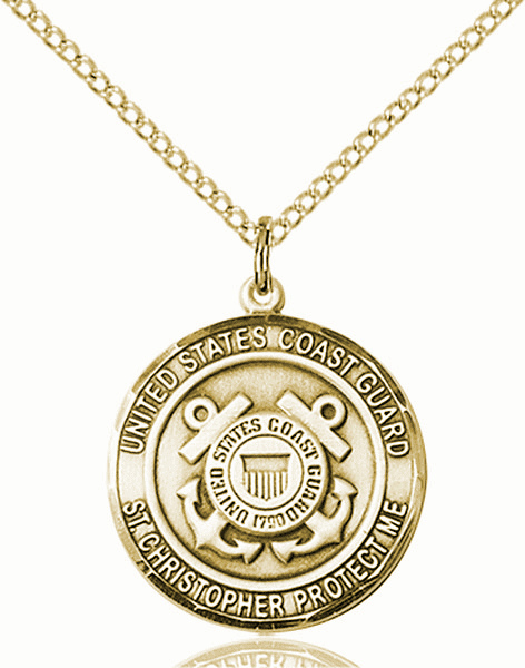 US Coast Guard Patron Saint Christopher 14kt Gold-filled Engravable Medal Necklace by Bliss